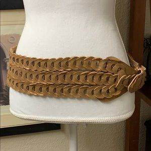 Accessories - Bronze Metallic Braided Loop Festival Triple Belt